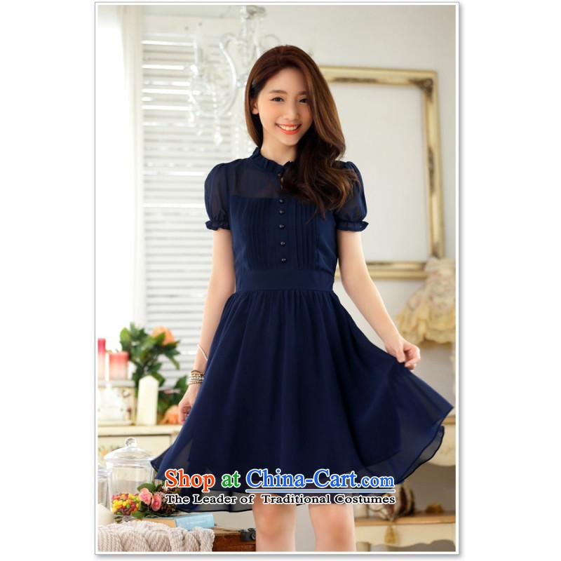 C.o.d. Package Mail 2015 Summer new stylish casual temperament Korean OL Lady Sau San short-sleeved foutune chiffon large Fat MM video thin dark blue skirt聽L