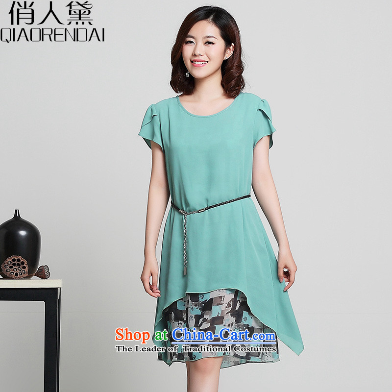 For the Korean People Doi To XL 2015 women's expertise in mm long leave two chiffon dresses skyblue燲XL