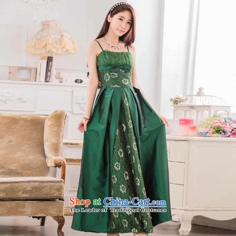 C.o.d. Package Mail 2015 Summer new leisure temperament classic style dinner show moderator large long evening dresses large graphics thin Sau San dresses green燲XL