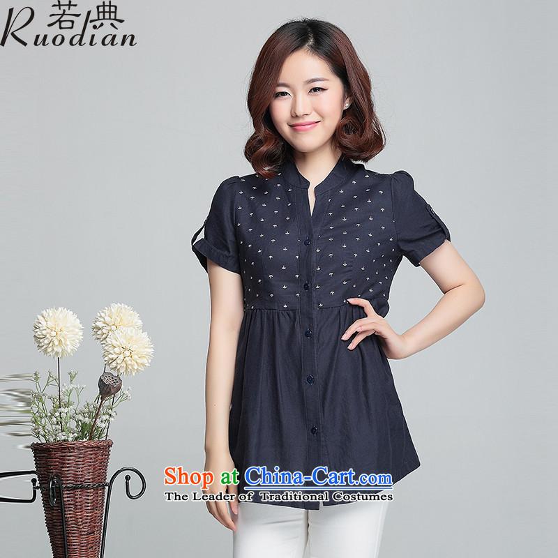 If Code�15 Summer new cotton linen collar female short-sleeved T-shirt large relaxd dolls shirt shirt shirt color navy�L