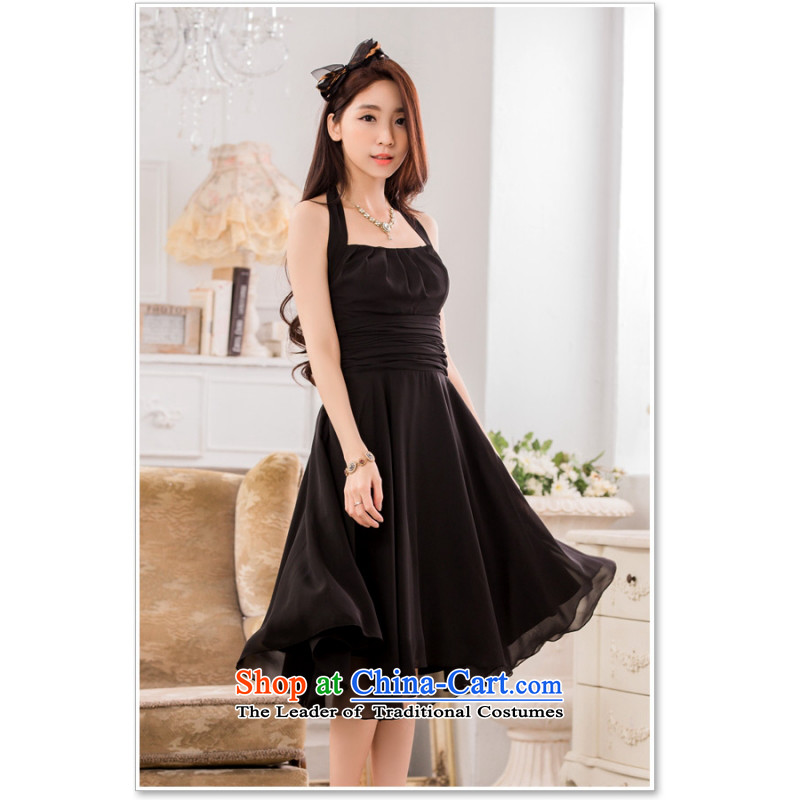 C.o.d. Package Mail 2015 Summer new stylish elegance of a pressure in the folds video thin Sau San large chiffon dress larger dresses with black XXXL belts_
