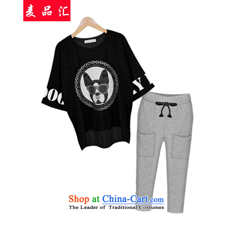 Mak, removals by sinks for summer 2015 mm thick larger women to increase the burden of loose video thin 200 short-sleeved T-shirt + Capri Lounge Suite�3燘lack燲XL recommendations 140-155 catty