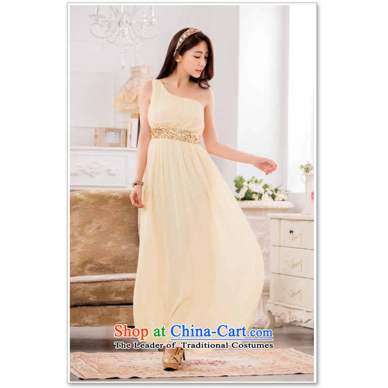 C.o.d. Package Mail 2015 Summer new stylish elegance of the debut single shoulder Foutune of video thin chiffon dress manually staple-ju long evening dresses dresses champagne color燲L