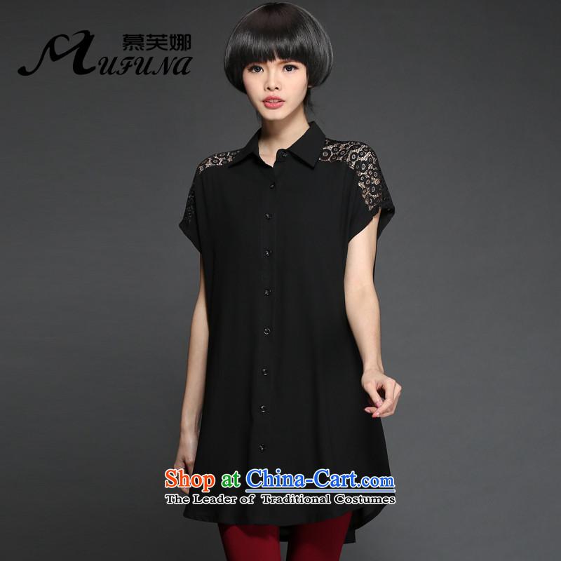 Improving access of 2015 Summer Korean New to increase women's code stylish lace stitching elegant engraving chiffon shirt loose shirt�15燘lack燲L