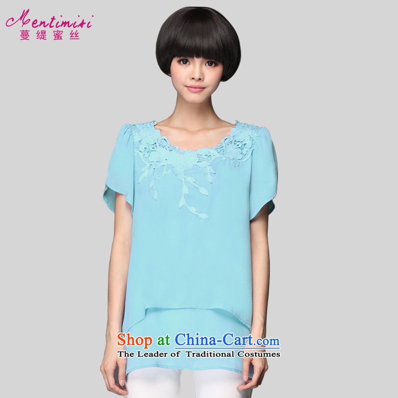 Overgrown Tomb economy honey population large new 2015 Women's summer to intensify the Korean version of the thick sister embroidery T-shirt chiffon 1314 teal larger 3XL around 922.747 160