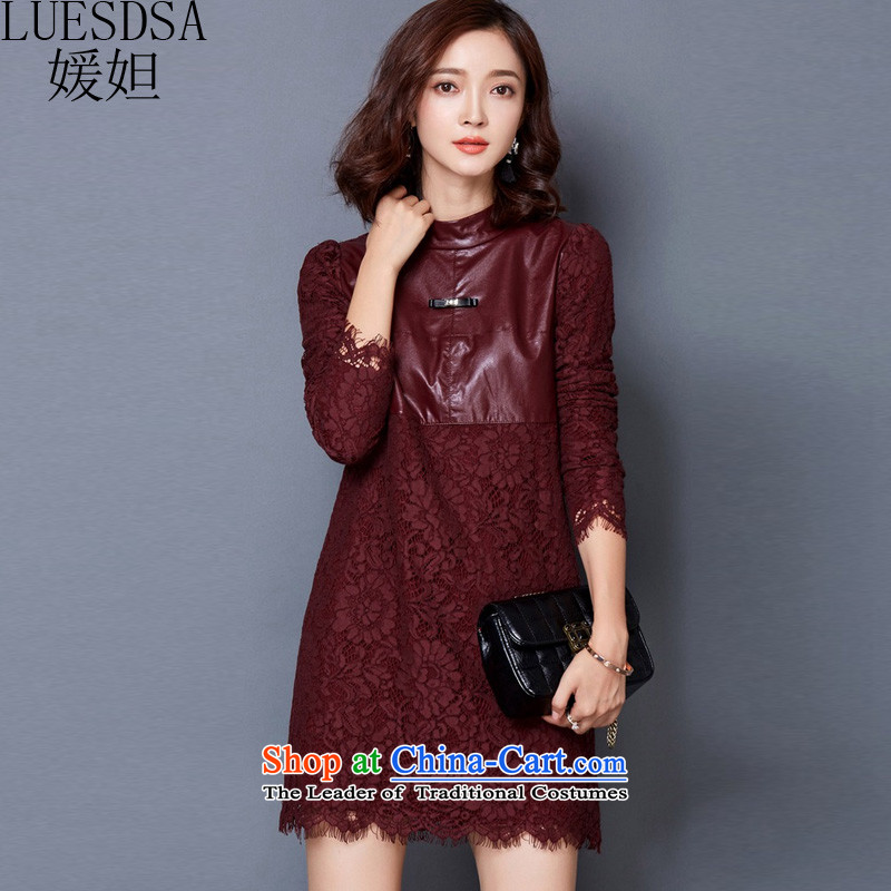 Yuan slot in the 2015 Fall/Winter Collections new Korean version of large numbers of women who are graphics thin lace forming the dresses YD346 wine red XXL