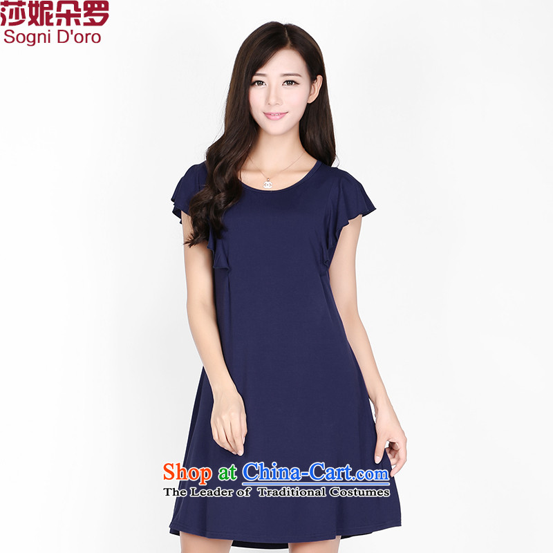 Shani flower lo xl dresses thick sister summer to increase the number of women's centers, 2,161 skirts thin graphics dark blue�L