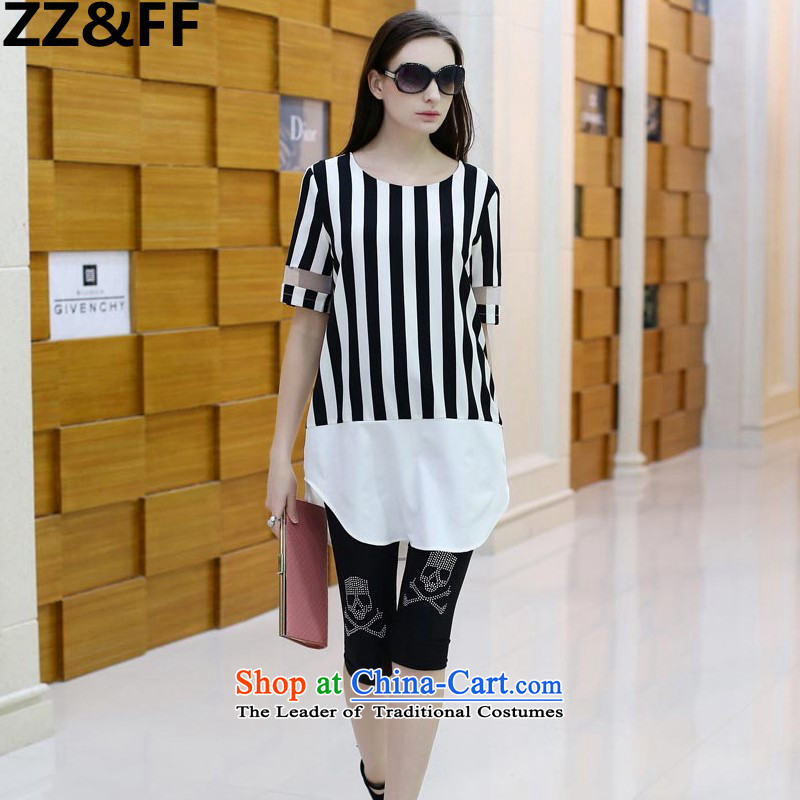 The new summer 2015 Zz_ff Korean version of fat mm Couture fashion loose short-sleeved T-shirt chiffon T-shirt female Summer 8239 picture color XXXXL