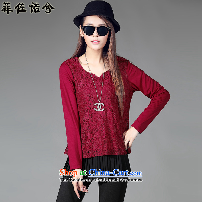 The officials of the fuseau larger women fall thick sister to replace xl leave two forming the shirt, autumn and winter long-sleeved shirt wine red lace 4XL