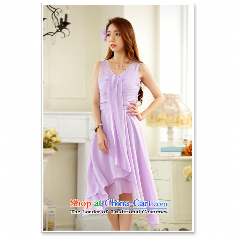 C.o.d. Package Mail 2015 Summer new stylish elegance and sexy Korean elegant ironing drill video under the rules do not thin ribbons chiffon large dresses dress purple燲L