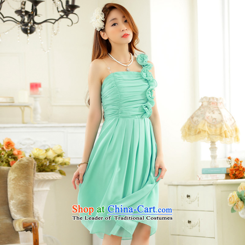 C.o.d. Package Mail 2015 Summer new stylish look sexy marriage quarter sister skirt fungus single shoulder foutune chiffon large number, skirts dress dresses blue聽XXL