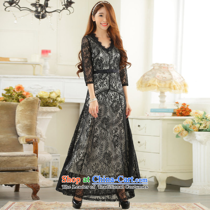 C.o.d. Package Mail 2015 Summer new stylish elegance of atmospheric high-end lace sexy V-neck in long-sleeved gown large black燲XXL dresses
