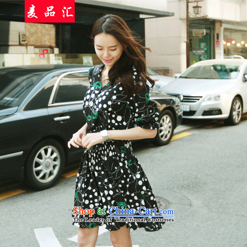 Mr Hui�15 summer products new Korean Version to increase women's code thick sister Foutune of video thin short-sleeved stamp chiffon dresses�50燘lack stamp燲XL