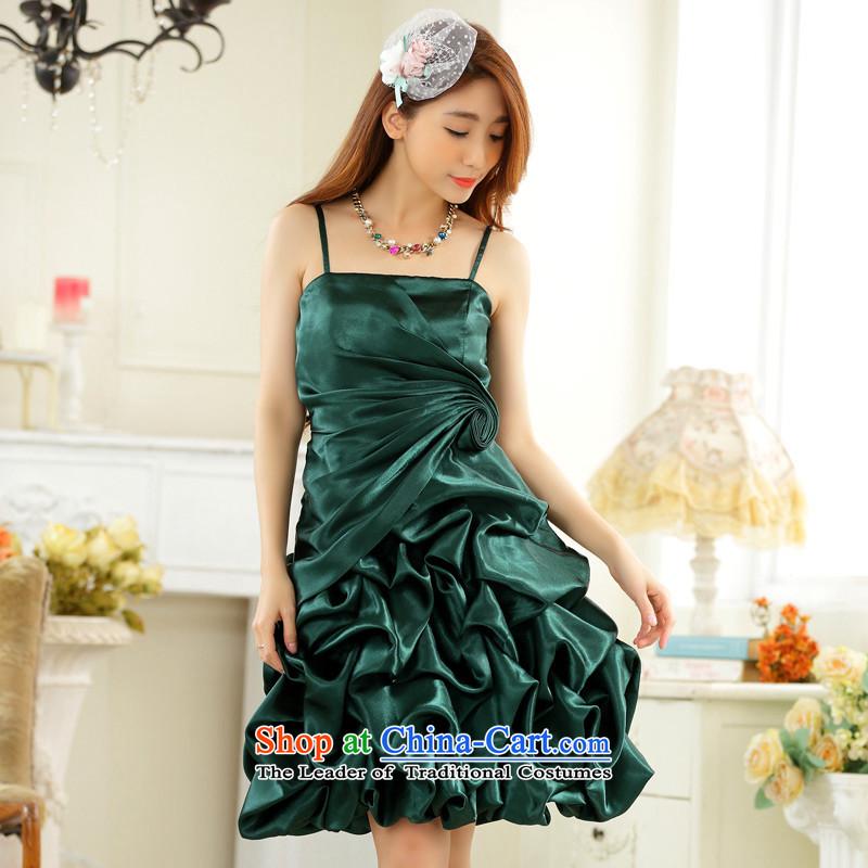 C.o.d. Package Mail 2015 Summer new stylish Korean video thin dress Sau San straps for wrinkle show skirt lanterns skirt host dress dresses greenXL