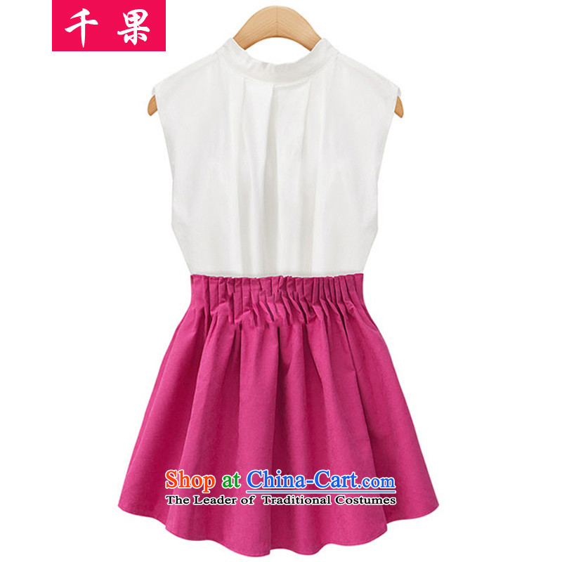 Thousands of large code women 2015 MM thick summer new to intensify sleeveless shirt + thin folds graphics short skirt two Kit�1爎ed T-shirt + skirts of�L