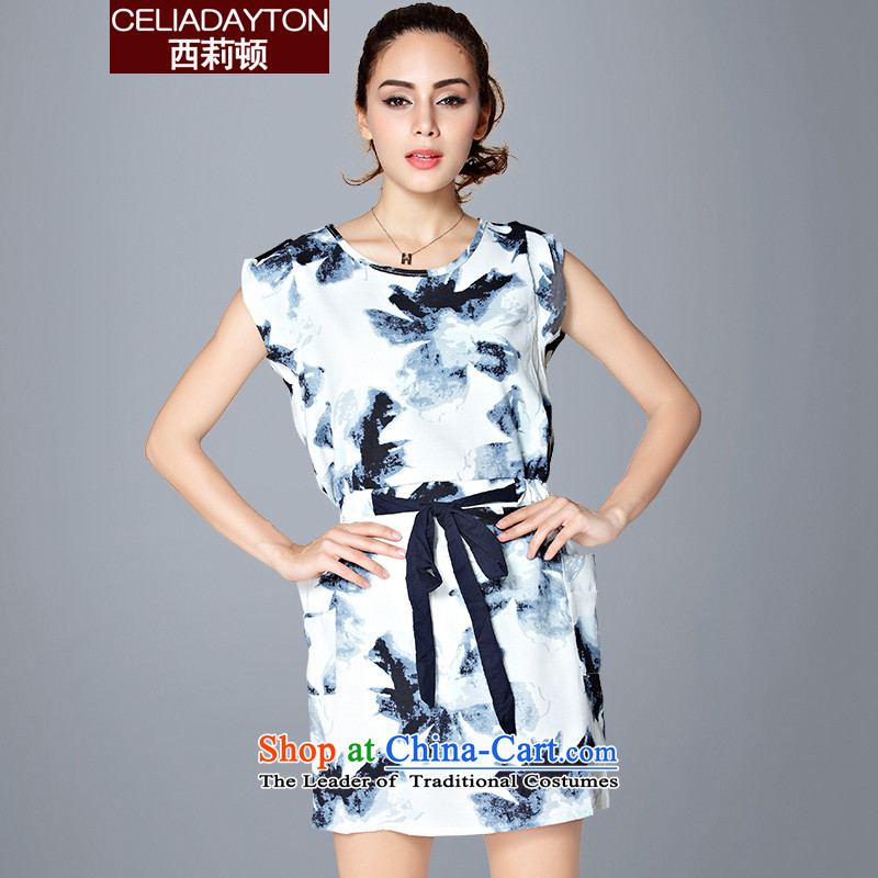 Szili Clinton to increase women's code New Europe and the 2015 Summer mm thick ink stamp upscale sister foutune chiffon suits skirts big minimalist Temperament spent燲XXXL Blue on white