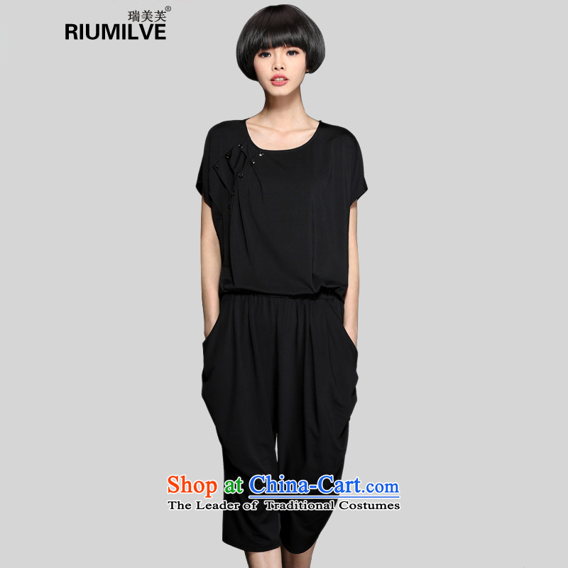 Rui Mei to�15 to increase the number of women in summer leisure wears thick mm thin t-shirt + Video Harun Capri pants two kits S8206燲XXL black