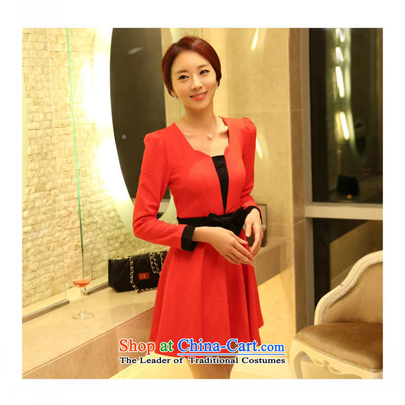 C.o.d. Package Mail 2015 Summer new stylish Korean Sau San video thin spell long-sleeved festive large skirt in skirt dresses thick MM maximum Code Red Dress燲L