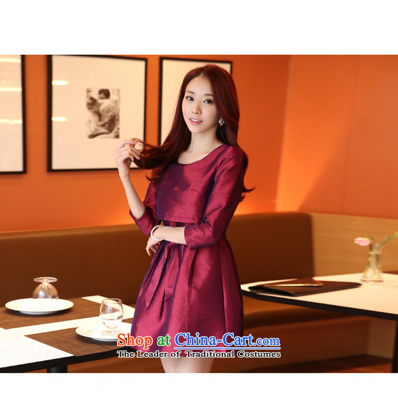 C.o.d. Package Mail 2015 Summer new stylish look long-sleeved leave two video thin A word   skirt bon bon skirt dresses thick MM larger dress wine red聽M