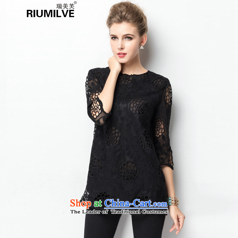 Rui Mei to to increase women's code 2015 Summer new middle-aged moms video thin engraving lace hook in flower-sleeved T-shirt female jacket J1323 black燲XL