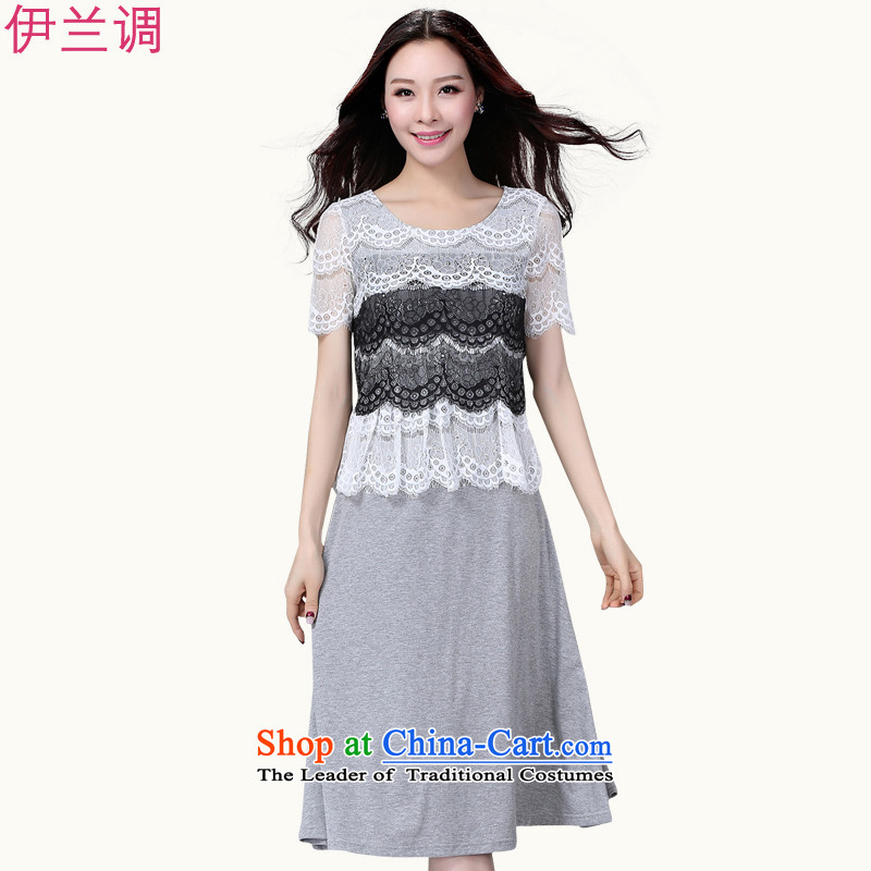 Gilland adjustable thick mm summer lace xl dresses thick sister larger women 2015 Summer summer new graphics thin 2203 Light Gray聽XL
