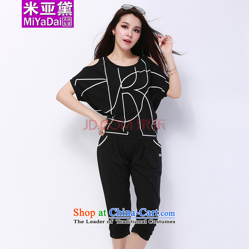 The Doi larger female kit fat mm Summer 2015 new thick sister bat sleeves relaxd casual sports two kit to 200 Black聽XL_ recommendations 120-140 catties_