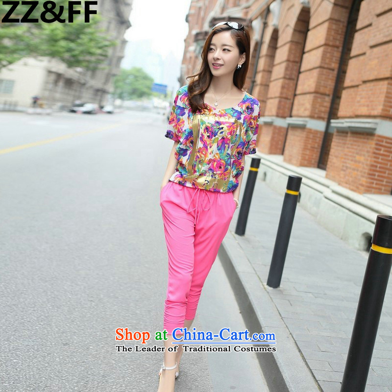 2015 to increase Zz_ff code female thick mm summer short-sleeved T-shirt 200 catties thick sister Capri Lounge Suite Two kits of red燲L_ recommendations 120-140 catties_