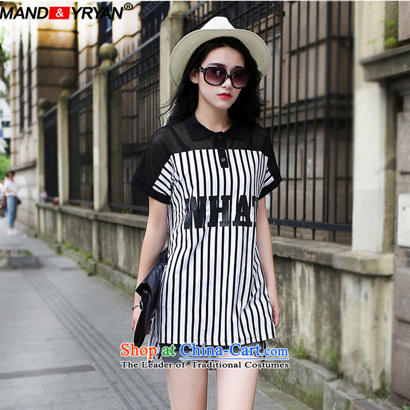 Mantile tu 2015 new European and American women in large long thick mm summer video thin letter shirt collar striped short-sleeved T-shirt figure _MDR1756 XXXXL165-175 around 922.747