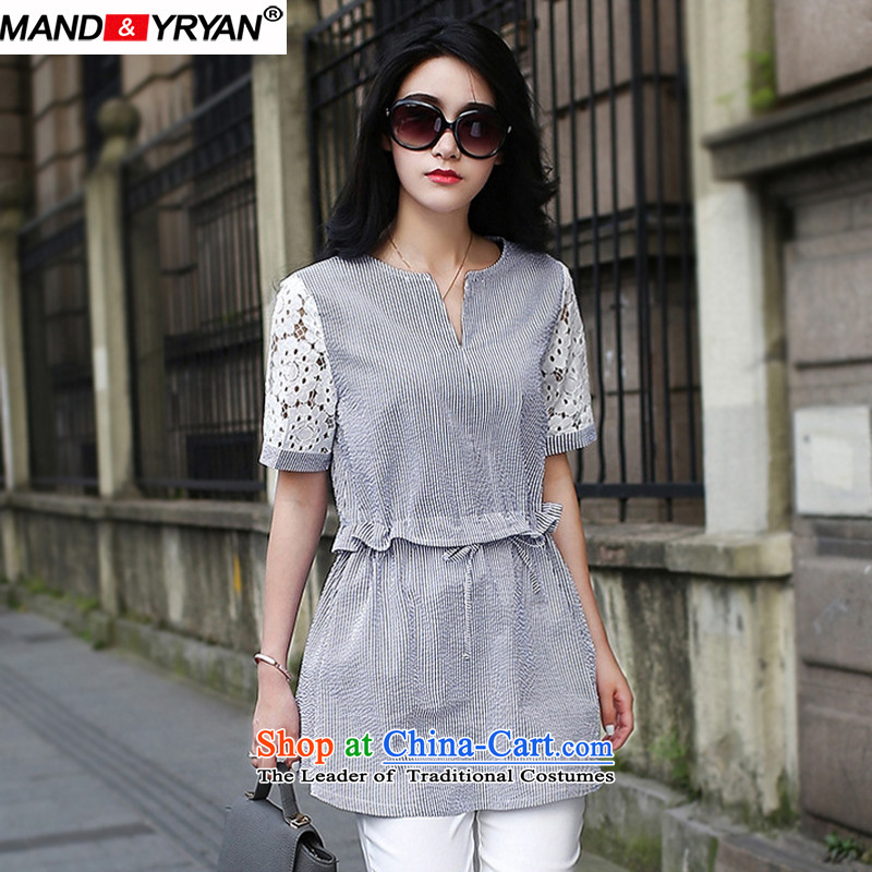 Mantile tu 2015 Western large female summer to intensify the thick mm dresses tether Foutune of video thin V-Neck large streaks dresses figure _MDR1768 XXXXL165-175 around 922.747