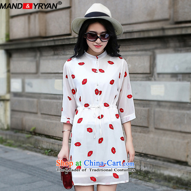 Mantile tu 2015 new larger women's summer to intensify the red lips embroidery in cuff chiffon dresses Sau San video thin wild forming the skirt around 922.747 XXXXXL180-200 /MDRZ1783 White
