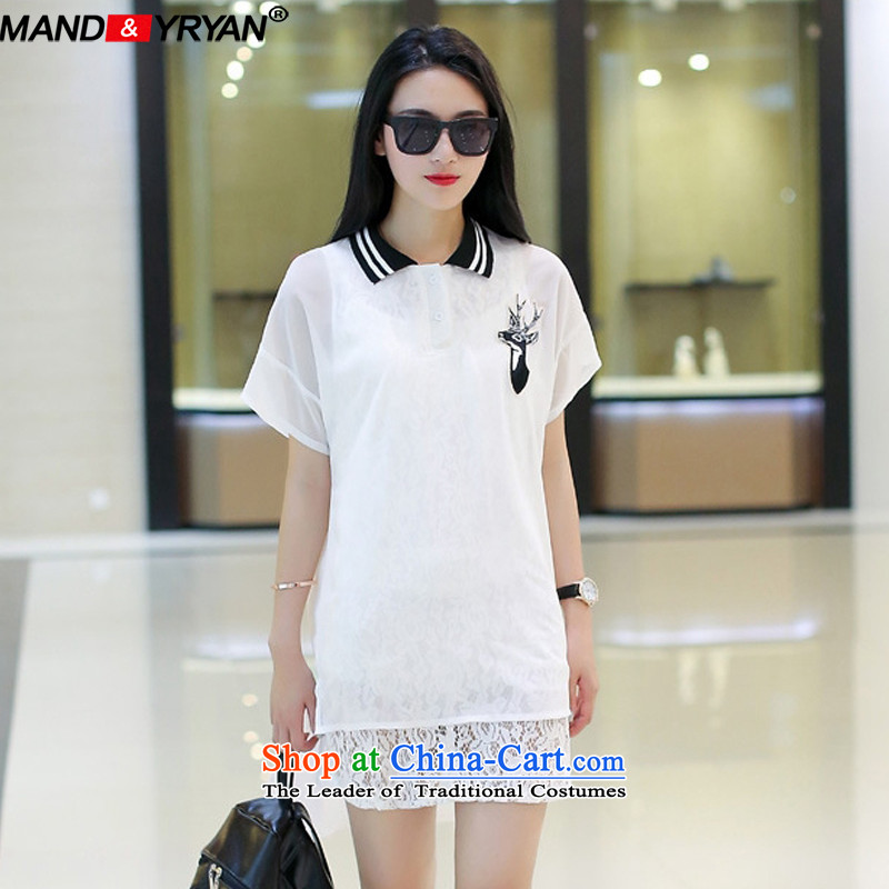 Mantile tu 2015 new MM thick larger female Summer Snow woven shirts long short-sleeved front stub long after loose white t-shirt _MDRZ1781 XXXXXL180-200 around 922.747