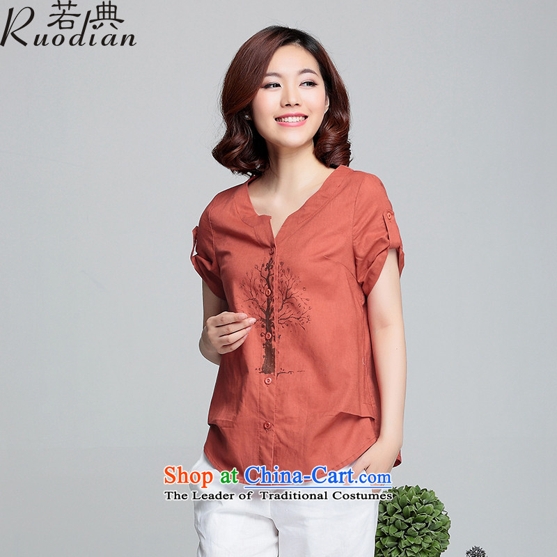 If code thick mm summer to xl female cotton linen clothes thick short-sleeved shirt Ms. sister red-orange4XL