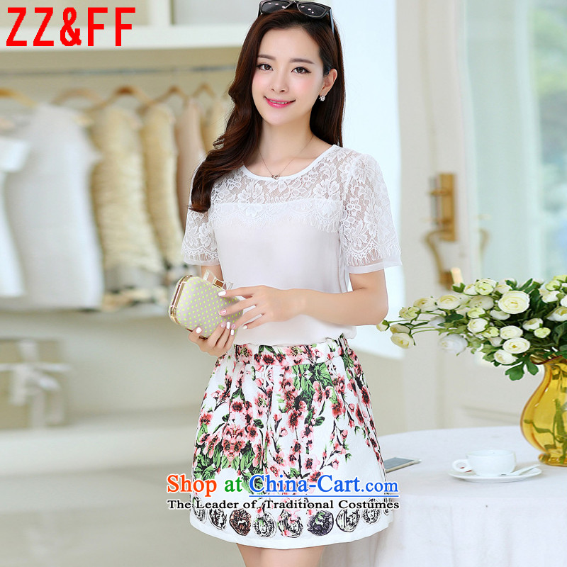 2015 Summer Zz_ff new larger female body decorated lace dresses female clothes short skirt kit燣YQ6080 female燱hite燲L