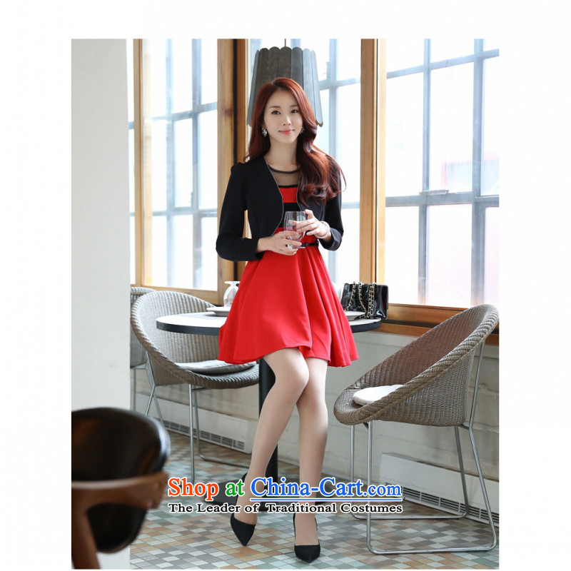 C.o.d. Package Mail 2015 stylish shirt + red petticoat pure minus age long-sleeved video thin two skirt piece dresses larger dress pack _Addition of diamond ornaments_ black waistcoat + red petticoat燤
