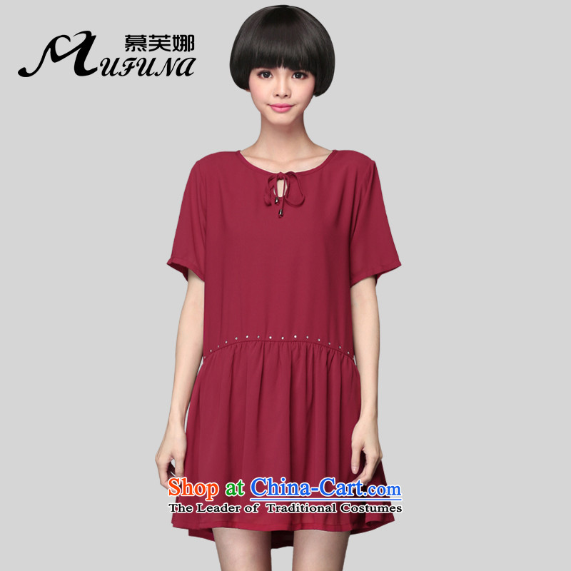 Improving access of 2015 Summer Korean New larger female thick MM stylish ironing drill chiffon skirt thick solid color graphics relaxd sister thin dresses�01爓ine red燲XL