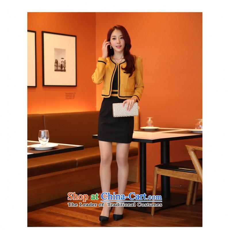 C.o.d. Package Mail 2015 Summer new stylish casual temperament OL Korean sweet long-sleeved Sau San video thin two kits dresses larger dress kit yellow T-shirt燤