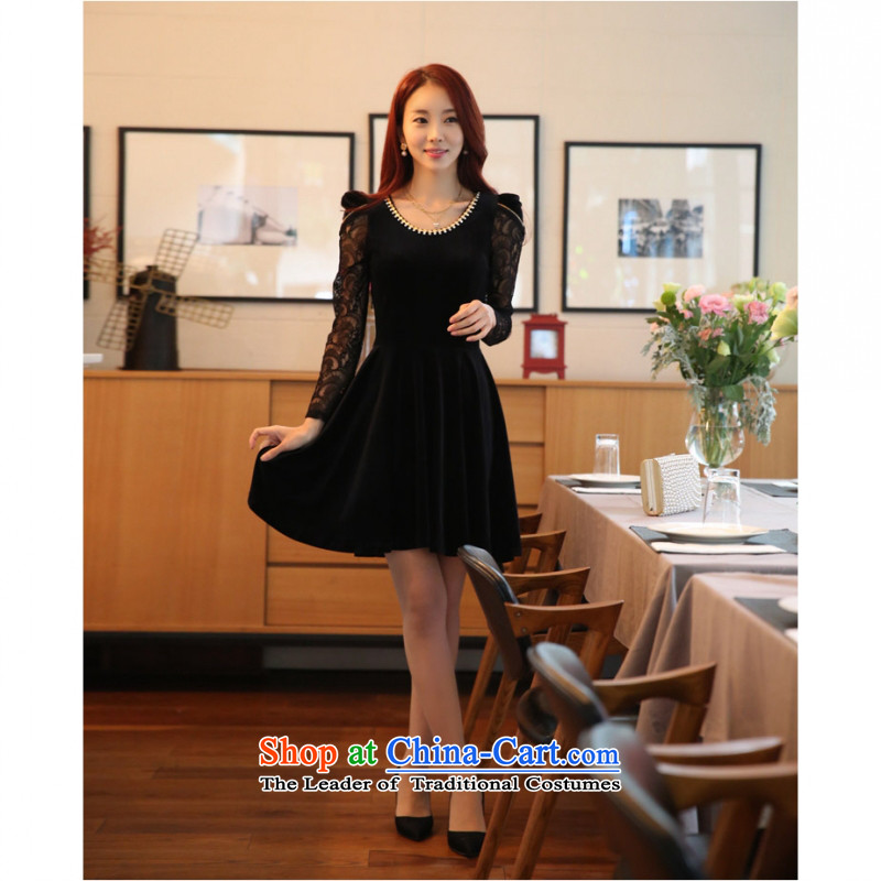 C.o.d. Package Mail new stylish look and feel elegant atmosphere video port female Korean Coltish Version Sau San temperament Kim velvet lace long-sleeved dresses large black dress code is F