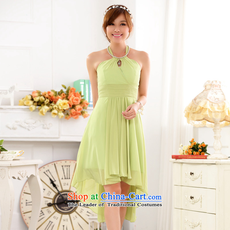 C.o.d. Package Mail 2015 Summer new stylish temperament atmospheric aristocratic bare shoulders hang also sexy foutune show large chiffon dovetail dress dresses fruit green are Code F