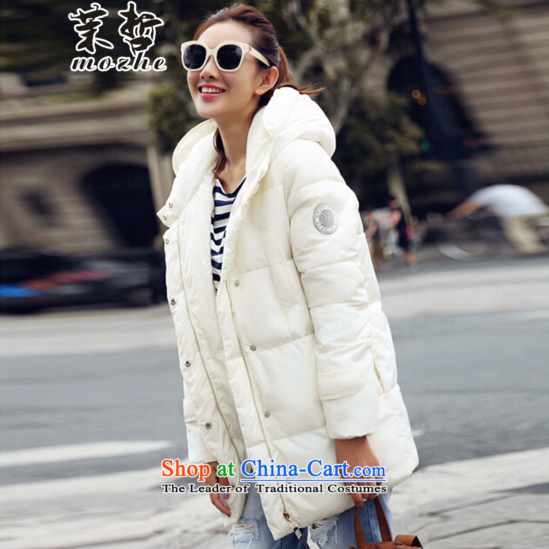 Energy-chul�  2015 new women's thick MM heavy High Fashion Cap less feather cotton coat White燤