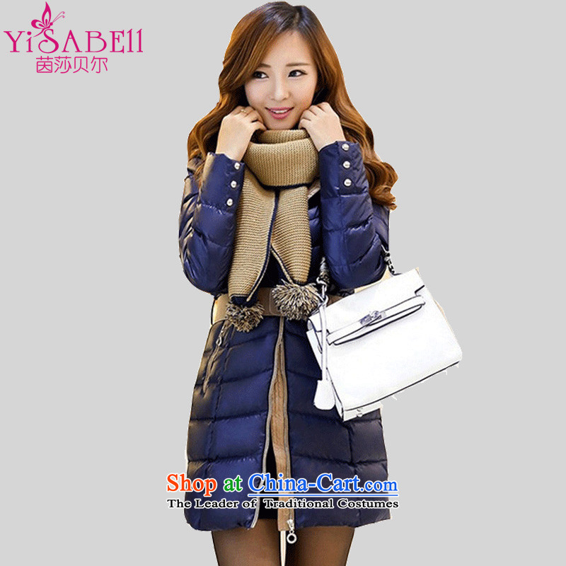 Athena Chu Isabel 2015 winter clothing in the new Korean long stylish wild stitching knocked color cotton waffle Ms. Sau San downcoat cotton COAT�35 in爌ossession of the Cyan� XL recommendations 136-145 catty