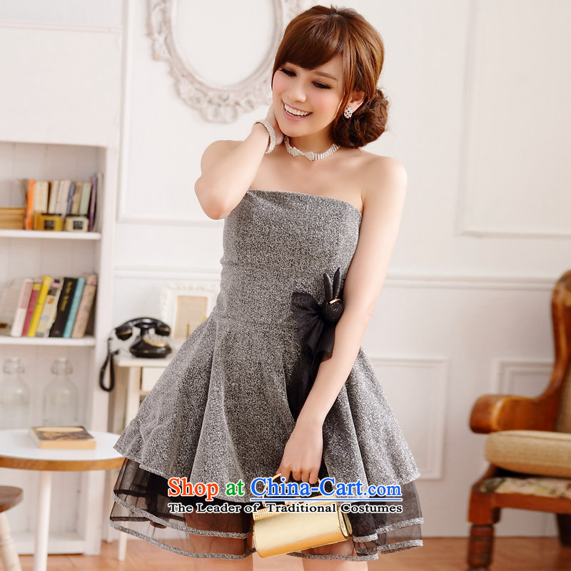 C.o.d. Package Mail 2015 Summer new stylish temperament tall attend banquets and sexy costumes Kim at the end of the wire-mesh chest dress skirt _feed concealed shoulder strap_ Silver are code