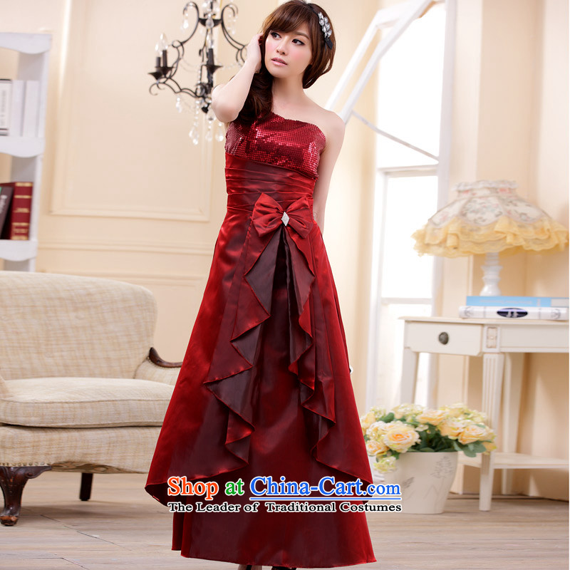 C.o.d. Package Mail 2015 Summer new stylish look and feel engaged in a superior stylish shoulder on the stack of the tabs to spend long version of the evening dresses dresses wine red XXL