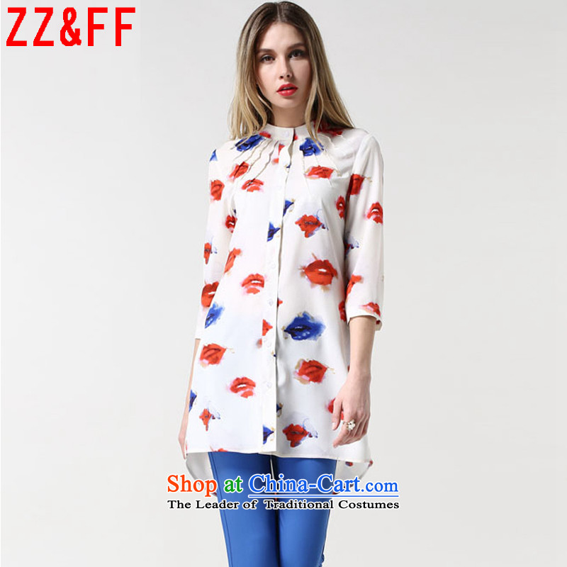 The new summer 2015 Zz_ff larger female decoration being unwell lips stamp Mock-neck seven female燙S9032 sleeveless shirt牋XXXXL White