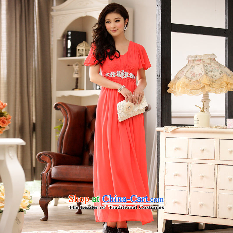 C.o.d. Package Mail 2015 Summer new stylish sexy beauty elegant and exclusive imports of diamonds niba cuff video thin beauty of the longer version of the evening dresses dresses燲XXL orange