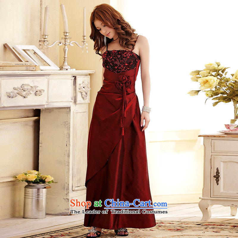 C.o.d. Package Mail 2015 Summer new stylish atmosphere on the tall elegant sexy beauty video thin banquet focus blossoms elegant long version of the dress dresses wine red XXL