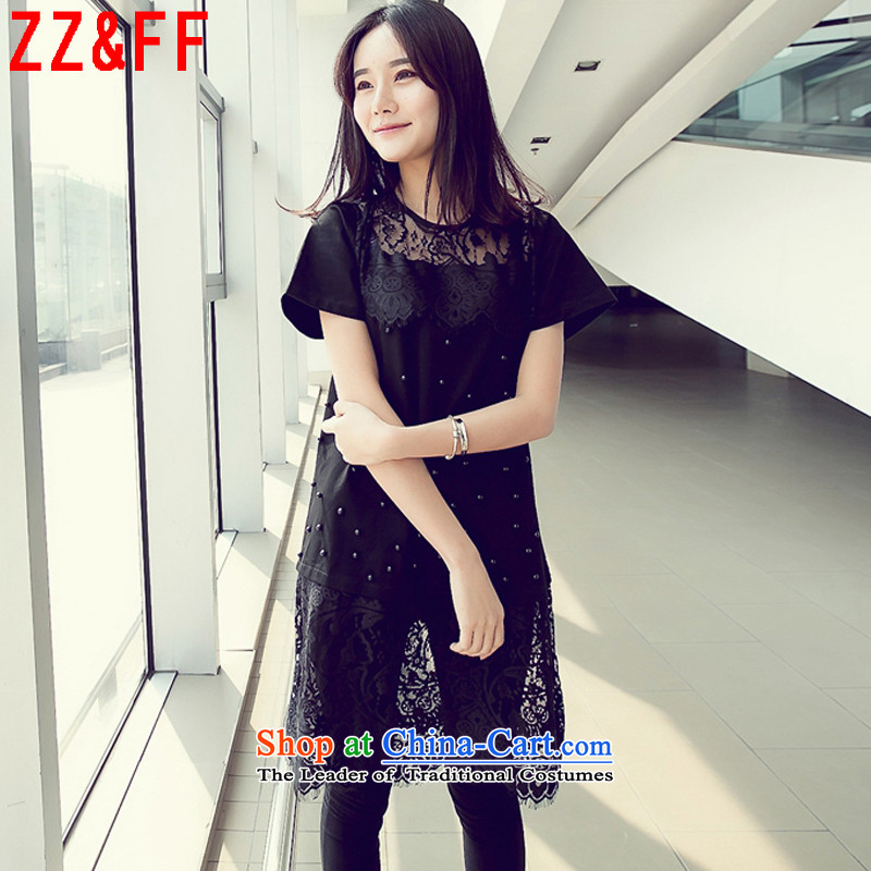 2015 Summer Zz_ff new larger female engraving nail pearl lace under the Small Heung-Sau San dresses聽LYQ9567 female聽Black聽XL