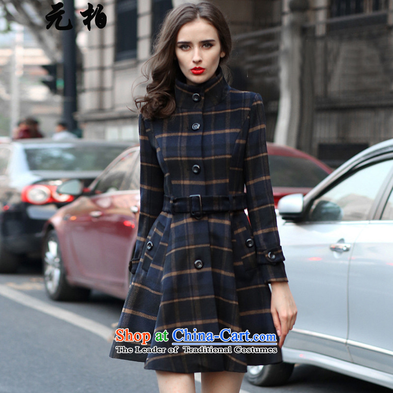 In 2015, Park Fall_Winter Collections new larger female 200 catties thick MM grid gross?? thin coat of graphics jacket map color 7067 180-195 5XL around 922.747