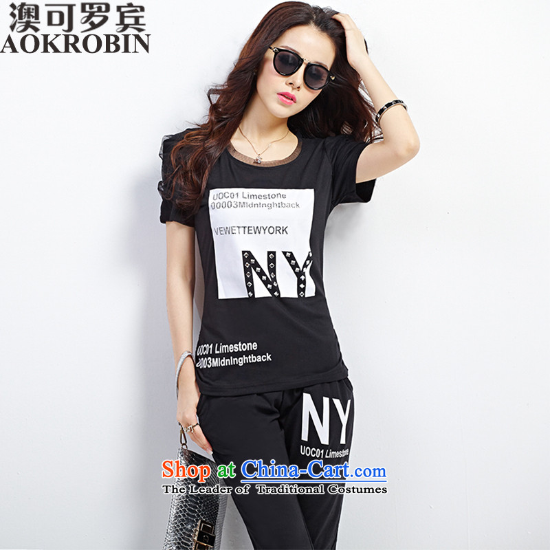 Australia New Robin large summer ladies casual sports wear t-shirt female short-sleeved blackXL