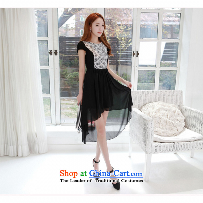 C.o.d. Package Mail 2015 Summer new stylish atmosphere and sexy Korean version of the new dovetail skirt long after the former short video thin temperament elegant chiffon lace dresses black燲XL
