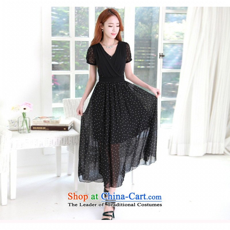 C.o.d. Package Mail 2015 Summer new stylish look sexy MM thick Korean value large long skirt Fashion wave point Sau San video thin temperament dresses black燣